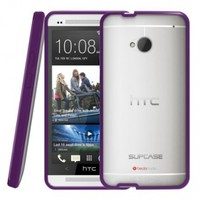 SUPCASE Premium Hybrid Protective Case for HTC One M7 Smartphone (Purple/Clear) - Multiple Color Options