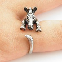 Vintage Silver Zebra Wrap Ring | KejaJewelry - Jewelry on ArtFire
