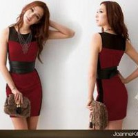 Slender waist dress red curve