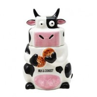 Ceramic Cow Cookie Jar Black / White, 10 inches H:Amazon:Kitchen & Dining