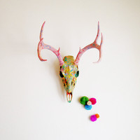 M A R B L E // Marbled Deer Skull // Painted Whitetail by MyrandaE