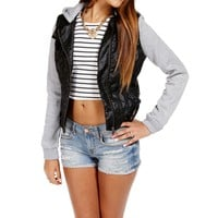 Black/Gray Faux Leather Light Jacket