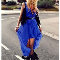 Blue Cocktail Dress - Bqueen Fish Swallowtail Chiffon Dress | UsTrendy