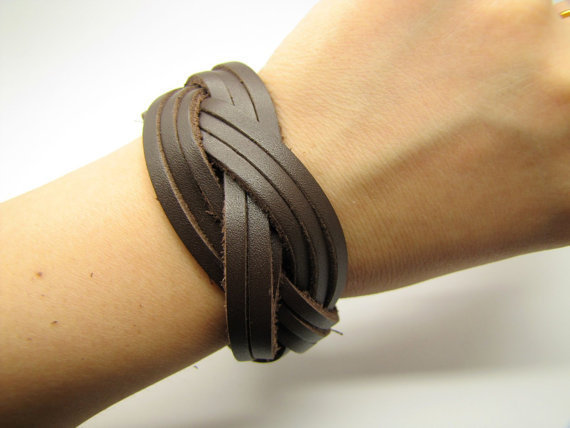 Brown Soft Leather Woven Women&#x27;s Leather Cuff by braceletcool