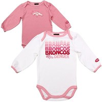 Gerber Denver Broncos Infant Girls 2-Pack Bodysuit - Pink/White