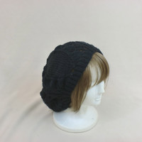 Black Slouchy Beanie Lace Hat Baggy Knit Large Slouch Beret