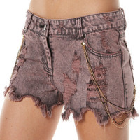 SURFSTITCH - WOMENS - JEANS - SHORTS - BLESS`ED ARE THE MEEK FIELD OF CRIMSON SHORT - BURGANDY