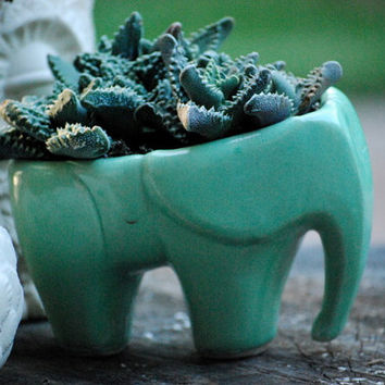 Large Elephant  planter in mint green