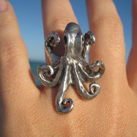 silver octopus ring by artformsinnature on Etsy