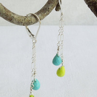 Turquoise Dangle Earrings- Tender Shoots Green/ Sky Blue/ sterling chain