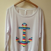 Flowy Off the Shoulder Multicolored Anchor Shirt