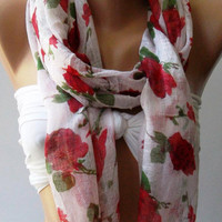 Red Flowers Silky Touch Elegance Shawl / Scarf by womann