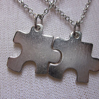 Silver Puzzle Piece Necklaces His and Hers by lovespelljewels