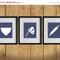 ON SALE Kitchen Art Print - Chevron, Baking Utensils, Zigzag Stripes - Set of 3 - 8X10 - Gray, Blue, White - No. KB007-7