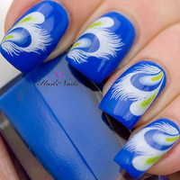 Blue White & Green Feather Nail Art Water Transfer Decal YD140 Salon Quality