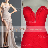 Gorgeous Strapless Sweetheart Floor Length Draped Chiffon Fashion Prom Dress ,Wedding Dress, Evening Gown ,Cocktail Dress