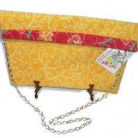 Yellow Swirls Clutch Purse Chain Strap Pink Flowers | kathisewnsew - Bags & Purses on ArtFire