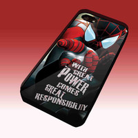 Spiderman Great Power Responsibility Design Hard Plastic Case For iPhone 4/4S, iPhone 5, Samsung Galaxy S3 i9300, Samsung Galaxy S4 i9500