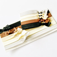 Headband  Combo Basics 10 Pack, 5 Headbands and 5 Matching Hair Ties by Lucky Girl Hair Ties