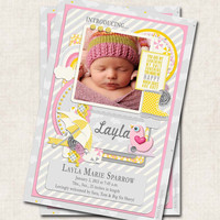 Baby Girl Birth Announcement Thank You, Shower, umbrella, rubber boots, modern, Digital File