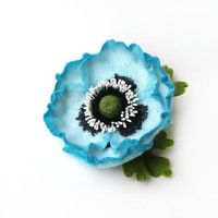 Felted brooch sky blue poppy with green leaves hand-dyed ready to ship