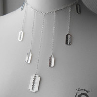 Razor Blades Dangling Short Necklace