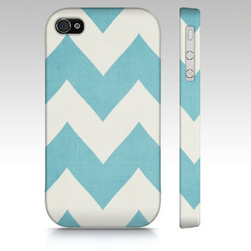 Saltwater Cure - Spa Blue Chevron - Iphone, 4, 4s, 5 Samsung Galaxy S3 & S4 Case - Zig Zag, apple, iPhone 5, iPhone 4s, stripe, tiffany