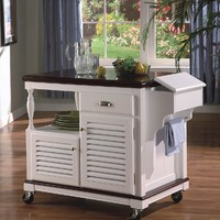 White Louvered Kitchen Cart Island Bar Work Table with Casters