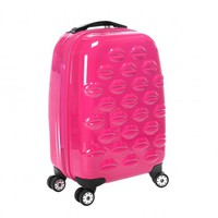 Shocking Pink Hard Sided Lips Small Spinner Case | Hard Sided Luggage | Luggage | | Lulu Guinness