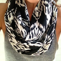 Black and White Aztec Infinity Scarf- Fall Infinity Scarf