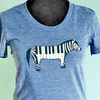 $20.00 ZEBRA PIANO tshirt vintage blue by boygirlparty by boygirlparty
