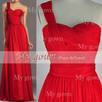 One-Shoulder Draped Sexy Red Chiffon Prom Dress, Dresses, Evening Gown,Wedding Dress