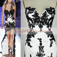 Gorgeous Strapless Hi-low Gown Rich Beaded Lace Applique Black/White Prom Dress, Cocktail Dress,Dresses,Wedding Dress,Gown