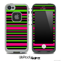 Neon Pink & Green Stripes Skin for the iPhone 5 or 4/4s LifeProof Case - iPhone