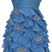 Zeilei Strapless Ruffle Skirt Short Prom Homecoming Cocktail Dress