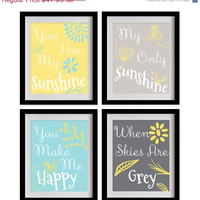 ON SALE You Are My Sunshine Nursery Art Print - Yellow, Grey, Sky Blue, Flowers, Leaves - Set of 4 - 8X10 - No. P027-2-S4