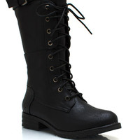 Buckle-Down-Combat-Boots BLACK BURGUNDY WHISKY - GoJane.com
