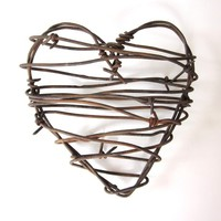 Rustic Home Decor, Barbed Wire Heart, - Cowboy's Heart -, rustic wedding decor, wedding favors, anniversary gifts for him, rusty heart