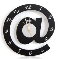 Letter @ Web Language Featured Wall Clock Color Black