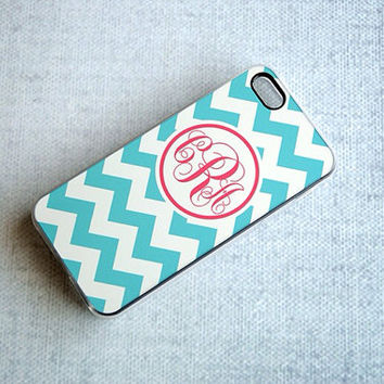 Turquoise and White Chevron with Coral Monogram iPhone Case
