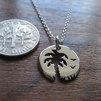 Miniature Palm tree Sunset Birds Pendant Necklace