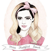 Marina & the Diamonds watercolour portrait PRINT Marina Diamandis