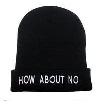 How About No Knit Beanie Black Embroidered