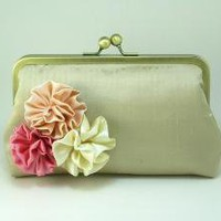 Champagne Rosettes Clutch Purse Pink Bouquet by DavieandChiyo