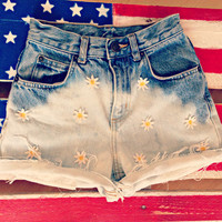 Ombre Daisy High Waisted Denim Shorts