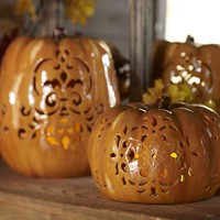 Punched Ceramic Pumpkin Luminaries