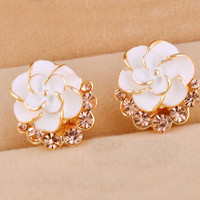 Fashion White Camellia With Rhinestone Earrings&Stud