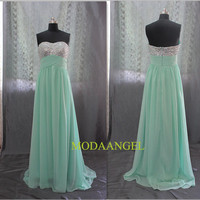 Sheath/ Column Sweetheart Neckline Sequins Chiffon Floor-length Strapless Evening Dress
