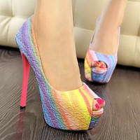Gradient Color Peep-toe Pumps High Heels for Women A452