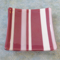 Striped Jewelry Plate, Glass Soap Dish, Candle Holder, Home Decor Plate - Giggles and Blushes - 260.-3